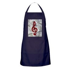 Red Treble Clef Apron (dark)