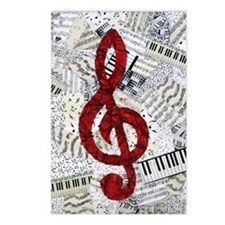 Red Treble Clef Postcards (Package of 8)