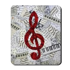 Red Treble Clef Mousepad