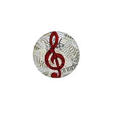 Red Treble Clef Mini Button