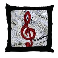 Red Treble Clef Throw Pillow