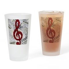 Red Treble Clef Drinking Glass