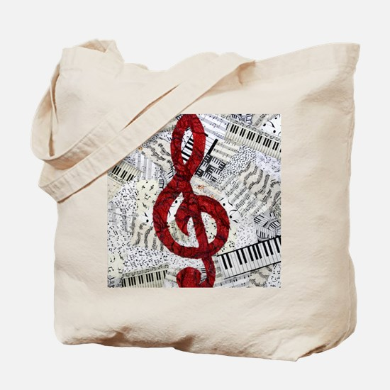 Red Treble Clef Tote Bag