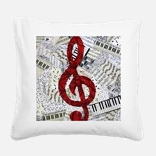 Red Treble Clef Square Canvas Pillow