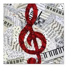 """Red Treble Clef Square Car Magnet 3"""" x 3"""""""