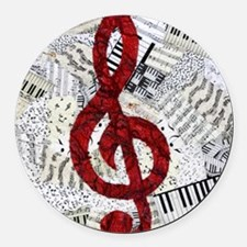 Red Treble Clef Round Car Magnet