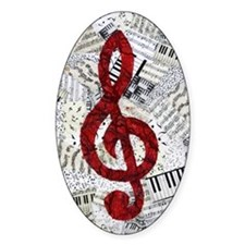 Red Treble Clef Decal