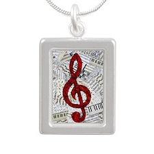 Red Treble Clef Silver Portrait Necklace