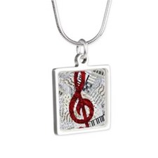 Red Treble Clef Silver Square Necklace
