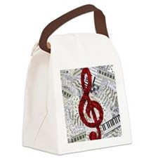 Red Treble Clef Canvas Lunch Bag