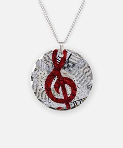 Red Treble Clef Necklace Circle Charm