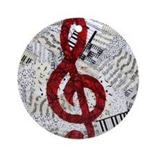 Red Treble Clef Round Ornament