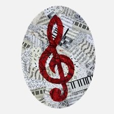 Red Treble Clef Oval Ornament