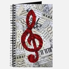 Red Treble Clef Journal