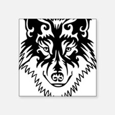 "Tribal Wolf 2 Square Sticker 3"" x 3"""