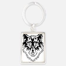 Tribal Wolf 2 Portrait Keychain