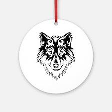 Tribal Wolf 2 Round Ornament