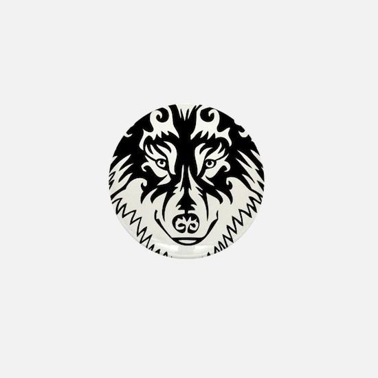 Tribal Wolf 2 Mini Button