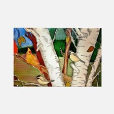 Birds in the Birch tree Rectangle Magnet