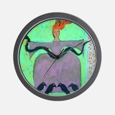 Fire Lady / Original Painting Wall Clock