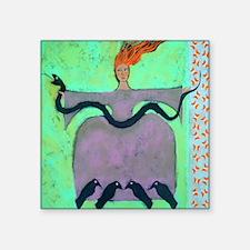 "Fire Lady / Original Painti Square Sticker 3"" x 3"""