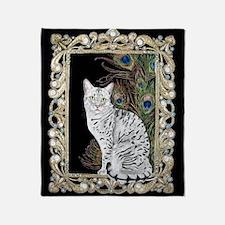 Silver Egyptian Mau Throw Blanket