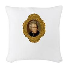 Andrew Jackson White Woven Throw Pillow