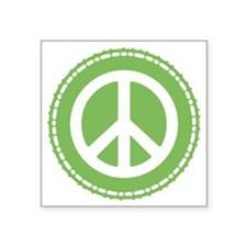 "Peace Sign Green Square Sticker 3"" x 3"""