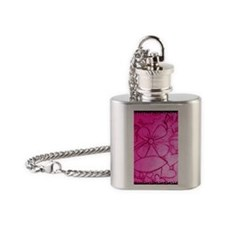 Pink flowery mirage Flask Necklace