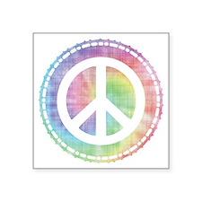 "Tie-Dye Peace Sign Square Sticker 3"" x 3"""