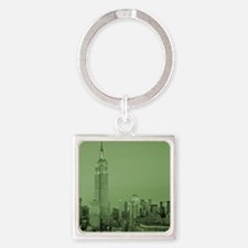 NYC, Green, Square Keychain