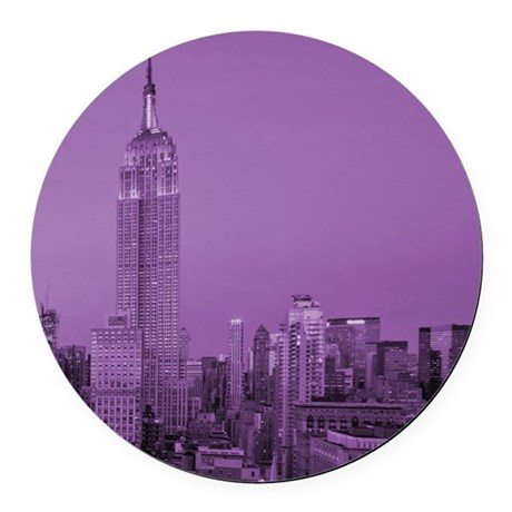 Purple NYC Skyline Round Car Magnet