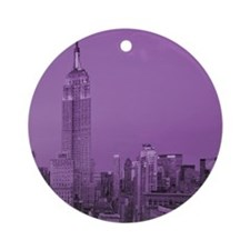 Purple NYC Skyline Round Ornament