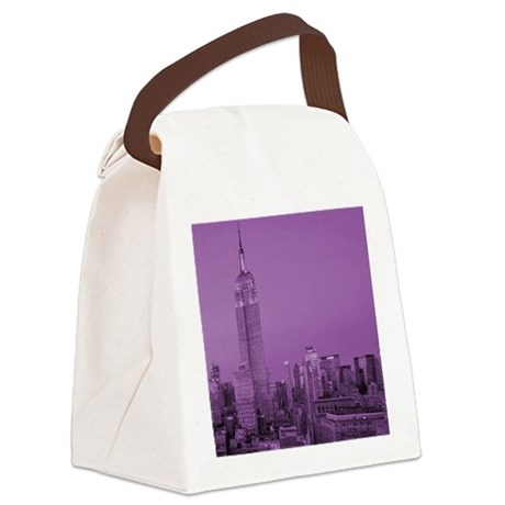 Purple NYC Skyline Canvas Lunch Bag