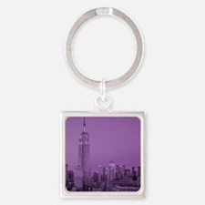 Purple NYC Skyline Square Keychain