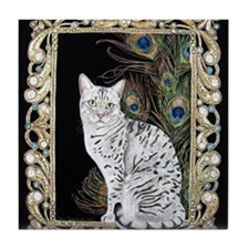 Silver Egyptian Mau Tile Coaster