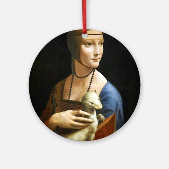 Lady With an Ermine - da Vinci Round Ornament