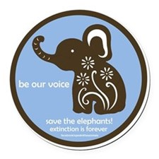 SAVE THE ELEPHANTS! Round Car Magnet