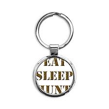EAT SLEEP HUNT 001 brown Round Keychain