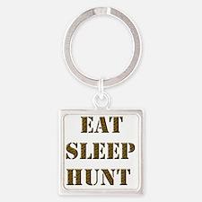 EAT SLEEP HUNT 001 brown Square Keychain