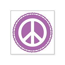 """Classic Purple Peace Sign Square Sticker 3"""" x 3"""""""