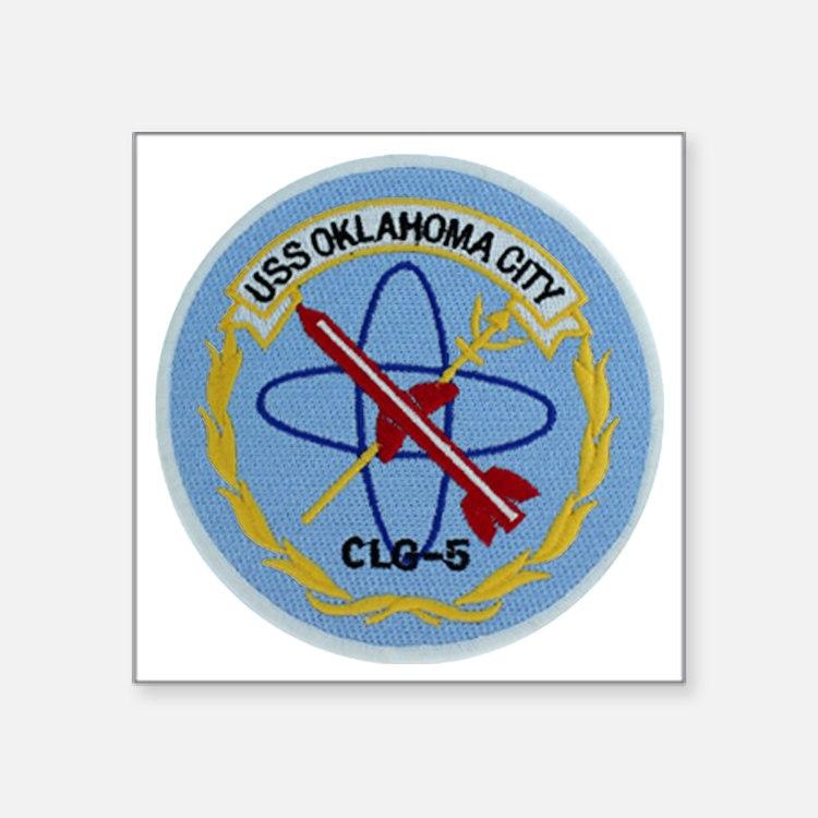 "uss oklahoma city clg patch Square Sticker 3"" x 3"""