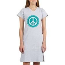 Classic Teal Peace Sign Women's Nightshirt