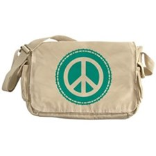 Classic Teal Peace Sign Messenger Bag