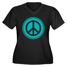 Classic Teal Women's Plus Size Dark V-Neck T-Shirt