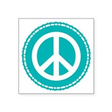 """Classic Teal Peace Sign Square Sticker 3"""" x 3"""""""