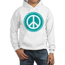 Classic Teal Peace Sign Hoodie