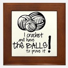 I crochet and have the balls to prove  Framed Tile