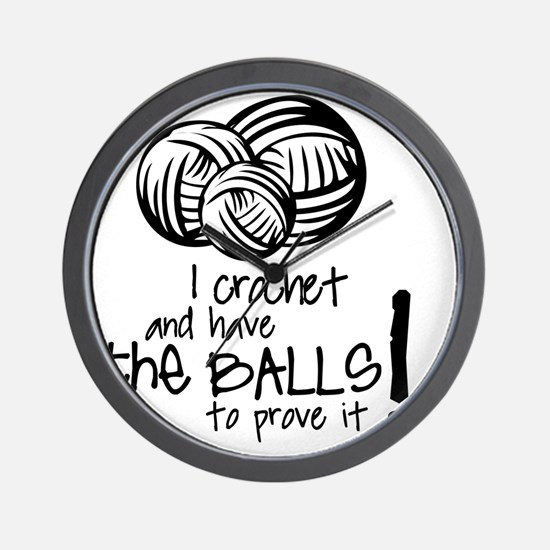 I crochet and have the balls to prove i Wall Clock