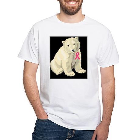 Breast Cancer Awareness Polar Bea White T-Shirt